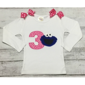 Cookie Monster Hot Pink Polka Dot Personalized Birthday Shirt or Onesie