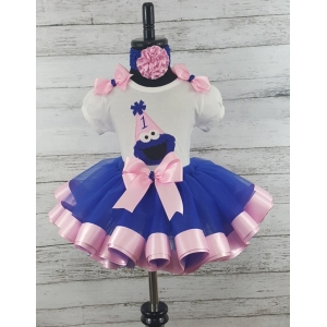 Cookie Monster Blue & Pink Ribbon Tutu 3 pc Set