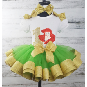 "Ariel ""Little Mermaid"" Gold & Green Personalized Birthday 3 Piece Ribbon Tutu Set"