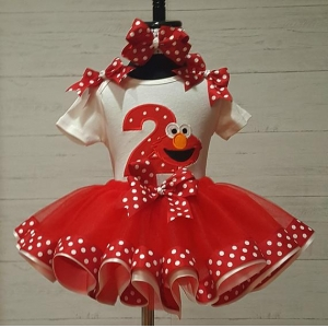 Elmo Red & White Dot Personalized Birthday Ribbon Tutu 3 Piece Set