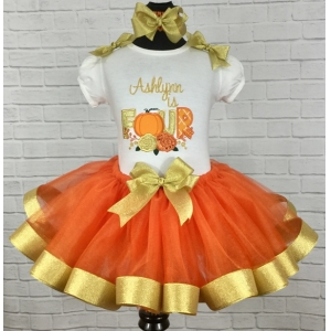 Fall Themed Pumpkin Orange & Gold Personalized Birthday Ribbon Tutu 3 Piece Set