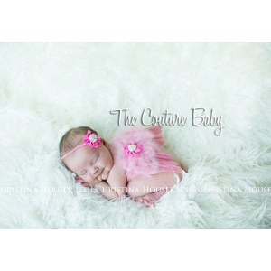 Hot Pink Rosette & Pink Feather Angel Wing and Headband 2 Piece Photo Prop Set