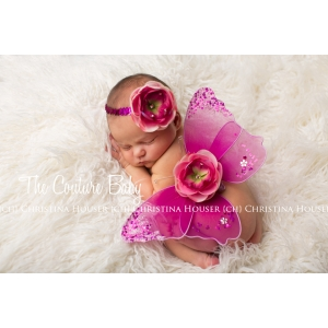 Hot Pink & Light Pink Sequin and Crystal Accents Wing and Headband Photo Prop Set