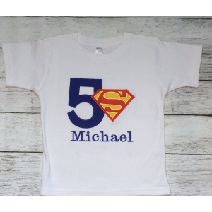 Superman Boys Personalized Birthday Shirt