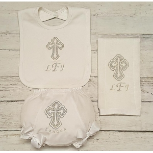 Silver Christening Baptism Cross 3 Piece Bib Onesie & Burp Cloth Personalized Gift Set