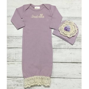 Lavender Lace Vintage Personalized Layette Gown & Hat