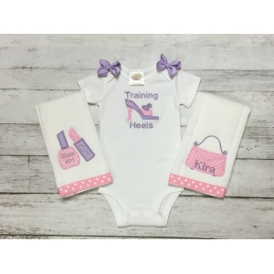 Her 1st Accessories 3 Piece Bib Onesie & Burp Cloth Personalized Gift Set