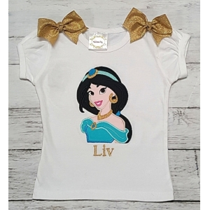 Princess Jasmine Personalized Aqua & Gold Embroidered Vacation Theme Park Shirt Or Onesie