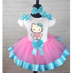 HELLO KITTY Glitter Pink-Turquoise Ribbon Tutu Personalized 3 Piece. Set