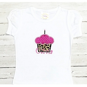 Leopard Couture Cupcake Birthday Top or Onesie