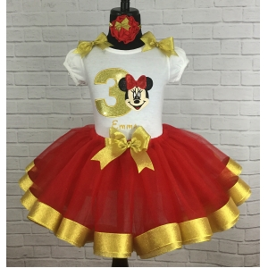 MINNIE MOUSE  ONE 1st Birthday Red & Silver \ Personalized Shirt & Ribbon Polka Dot  Ribbon Tutu 3 Piece Setu 3 Piece Set
