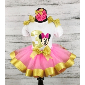 Minnie Mouse Hot Pink & Gold Birthday Ribbon Tutu 3 Piece Set