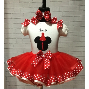 MINNIE MOUSE Birthday Red &  White Polka Dot Personalized Shirt & Red Ribbon Tutu 3 Piece Set