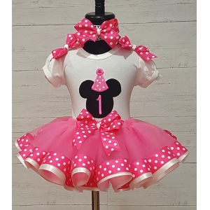 MINNIE MOUSE BirthdayHot Pink and White Polka Dot Personalized Shirt & Ribbon Polka Dot  Ribbon Tutu 3 Piece Set