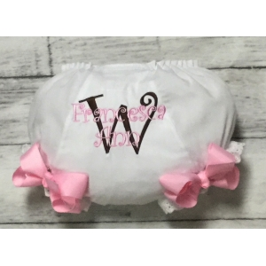 pink brown name initial diaper cover bloomers