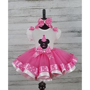 MINNIE MOUSE BirthdayHot Pink and White Polka Dot Personalized Shirt & Ribbon Polka Dot  Ribbon Tutu 3 Piece Set