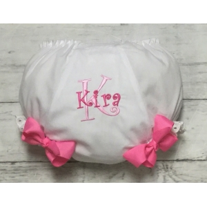 Light Pink & Hot Pink Embroidered Personalized Name & Inital Diaper Cover Bloomers