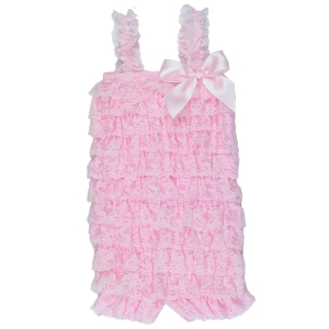 Light Pink Lace Ruffle Petti Romper