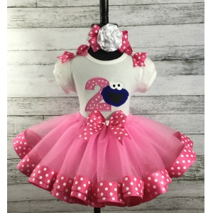 Cookie Monster Pink Dot Ribbon Tutu Personalized 3 Pc Birthday Set