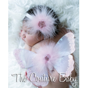 Pink Marabou Feather & Crystal Pink Sequin Baby Butterfly Wings & Headband 2 Pc Photo Prop Set & Cyrstal Pink Sequin Baby Butterfly Wings & Headband 2 Pc Photo Prop Set