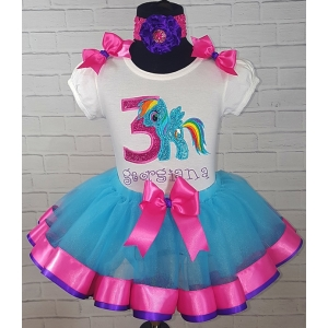 Rainbow Dash My Little Pony Birthday Turquoise Hot Pink and Purple Ribbon Tutu 3  Personalized 3 Piece Set