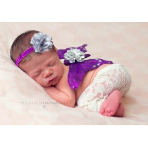Purple & Silver Sparkle Butterfly Wing & Headband Photo Prop 2 Piece Set