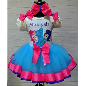 Shimmer & Shine Personalized Ribbon Tutu 3 Pc Set Any Age