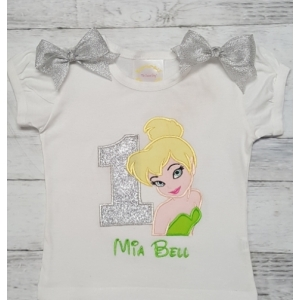 TinkerBell Birthday Personalized Green & Silver Onesie-Shirt or Tank Top