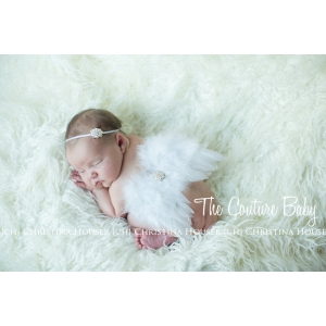 White Pearls & White Angel Feather Wing and Headband 2 Piece Set