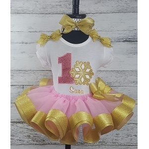 1st Birthday Winter Wonderland Onederland Snowflake Pink and Gold Personalized Ribbon Tutu 3 Piece Set