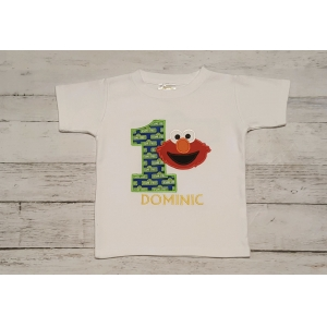 Elmo Sesame Street Sign Two Sided Birthday Boy Personalized Shirt