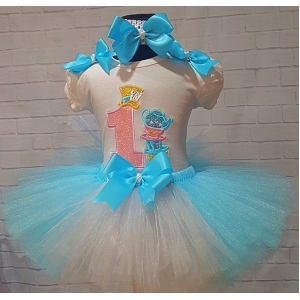 Mad Hatter Alice In Wonderland Tea Party Personalized Aqua Blue White Birthday Tutu 3 Piece