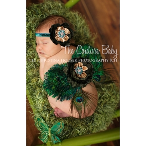 Peacock Shimmer Feather Angel Wings & Headband Set